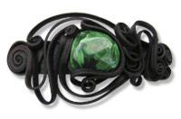 Haarspange mit Malachit (Stein) - Clip