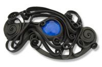 Haarspange mit Glas (rund blau) - Clip