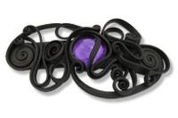 Haarspange mit Glas (rund violett) - Clip