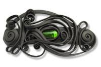 Haarspange mit Glas (Tropfen grün) - Clip
