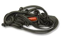 Haarspange mit Glas (Tropfen rot) - Clip