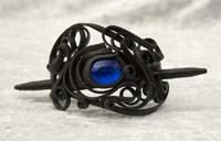 Haarspange mit Glas (rund blau) - Stab
