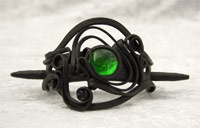 Haarspange mit Glas (rund grün) - Stab