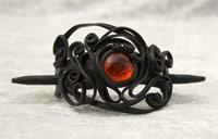 Haarspange mit Glas (rund rot) - Stab