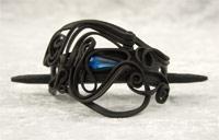 Haarspange mit Glas (Tropfen blau) - Stab
