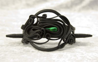 Haarspange mit Glas (Tropfen grün) - Stab