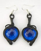 Ohrringe mit Glas (rund blau)