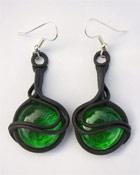 Ohrringe mit Glas (rund grün)