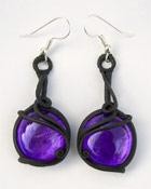Ohrringe mit Glas (rund violett)
