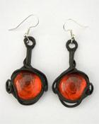 Ohrringe mit Glas (rund rot)