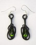 Ohrringe mit Glas (Tropfen grün)