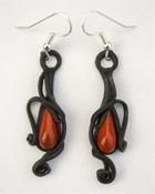 Ohrringe mit Glas (Tropfen rot)