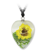 Gelbe Blume Herz-Anhänger