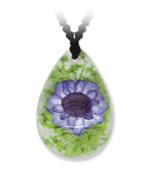 Violette Blume Tropfen-Anhänger